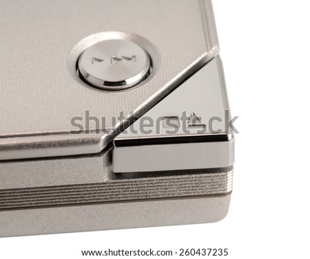 Electronic collection - Close up shot of eject button - stock photo