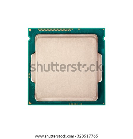 Electronic collection - Computer processor from the top side isolated on white background - stock photo
