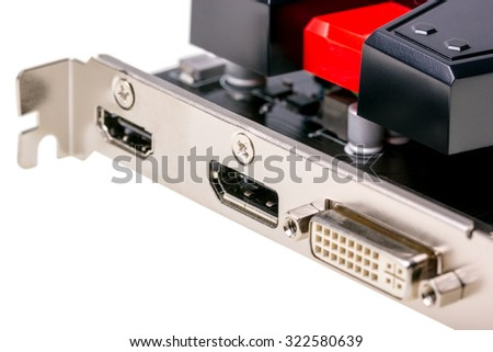 Electronic collection - Computer videocard connector isolated on the white background - stock photo