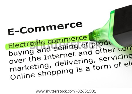 Electronic commerce highlighted in green, under the heading E-Commerce. - stock photo
