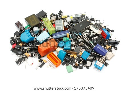Electronic Components mix, for SMD and THT assembly - stock photo