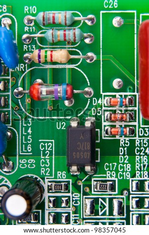 Electronic components mounted on a computer motherboard useful like a background - stock photo