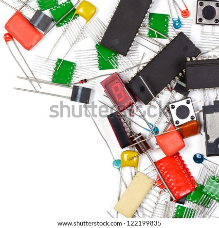 Electronic components  on white background - stock photo