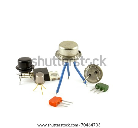 Electronic components - transistors, over white. - stock photo