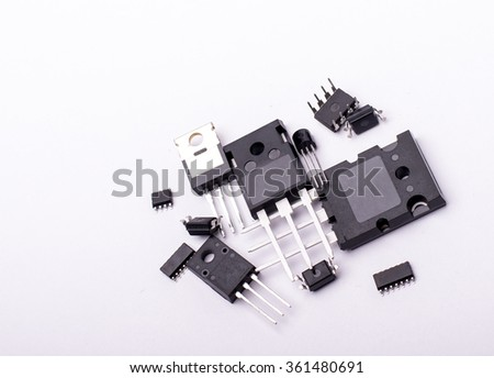 Electronic components with white background - stock photo