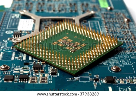 Electronic computer board and chip - stock photo
