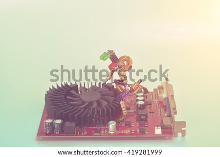Electronic concept.Engineers Fixing Computer Circuit. - stock photo