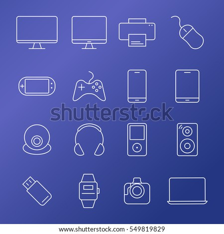 Electronic devices thin line icons. Raster version.