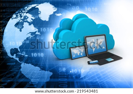 Electronic Devices with  cloud server - stock photo