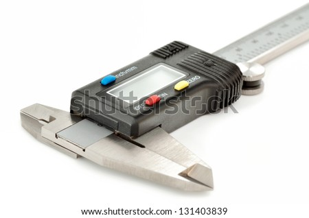 Electronic digital caliper isolated on white background - stock photo