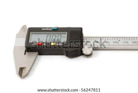 Electronic digital caliper isolated on white background. The precision tool.