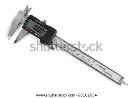 Electronic digital vernier caliper isolated on white - stock photo