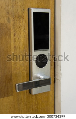 electronic door locked, must open by key card. - stock photo