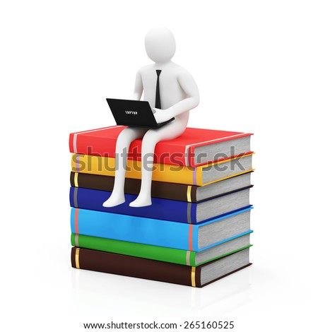 Electronic Educational Technology E-learning Concept. 3d Man with Modern Laptop Sitting on Stack of Colorful Books isolated on white background - stock photo