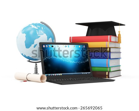 Electronic Educational Technology or E-Learning Concept. Modern Laptop with Desk Globe, Graduation Cap, Diploma and Stack of Colorful  Books. (Elements of this image furnished by NASA)