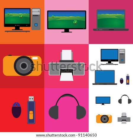 Electronic gadgets collection - television, computer set and camera