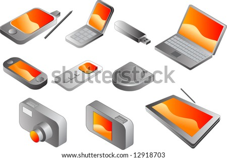 Electronic gadgets, vector clipart isometric style: pda phone, clamshell cellphone, usb pendrive, notebook, portable game player, mp3 player, cd player, digital camera, tablet pc - stock photo