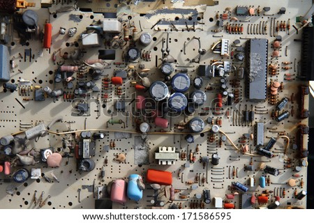 electronic garbage for recycling - stock photo