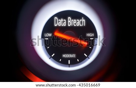 Electronic gauge displaying a Data Breach Concept