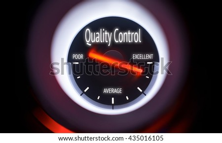 Electronic gauge displaying a Quality Control Concept