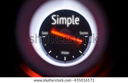 Electronic gauge displaying a Simple Concept