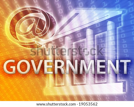 Electronic government illustrated by building and data - stock photo