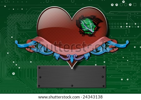 Electronic heart, background, wallpaper - stock photo