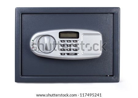 Electronic home safe isolated on white background. - stock photo