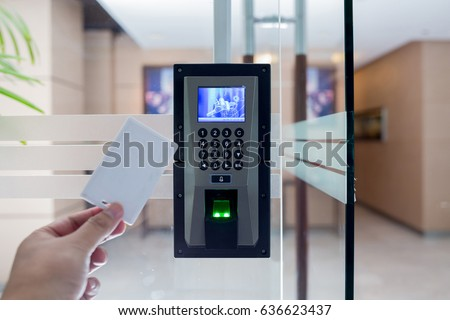 electronic key and finger scan access control system to lock and unlock doors & Electronic Key Finger Scan Access Control Stock Photo \u0026 Image ...