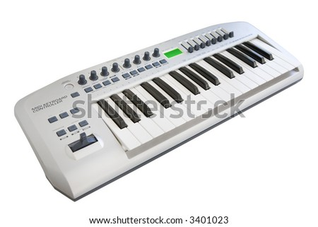 Electronic keyboard isolated on a white background - stock photo