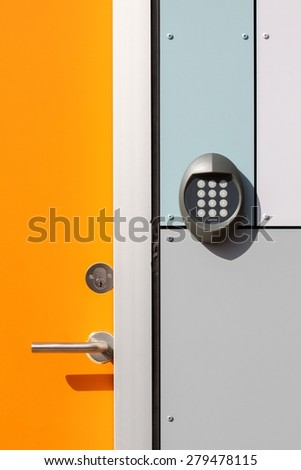 Electronic lock door - stock photo
