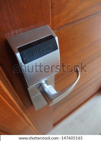 Electronic lock on door - stock photo