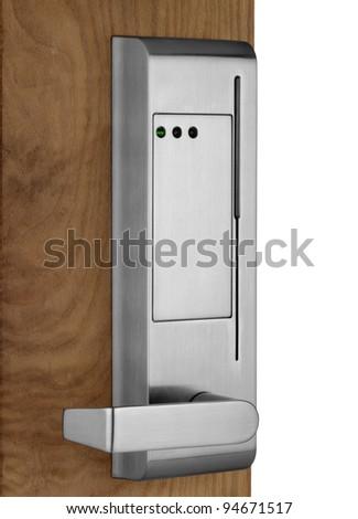 Electronic lock on door - stock photo