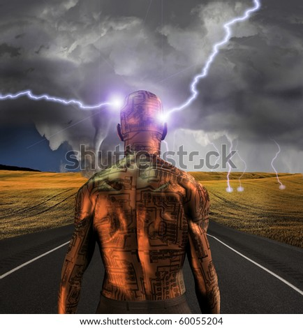 Electronic man faces storm - stock photo