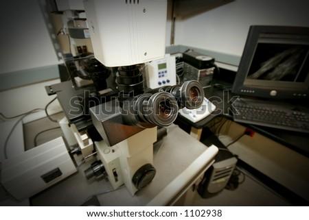 electronic  microscope - stock photo