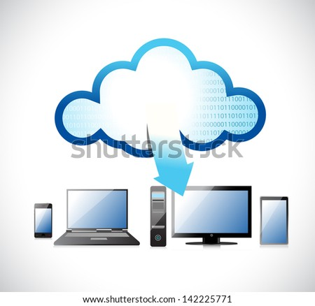 electronic network, cloud computing illustration design over white