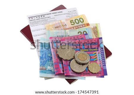 Electronic passport with Hong Kong Dollar banknote and coins money, Arrival Card, isolated on white background