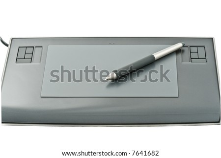 Electronic pen on graphic tablet. Isolated on white - stock photo