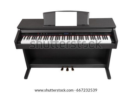 Electronic piano isolated on white background. Place for writing notes