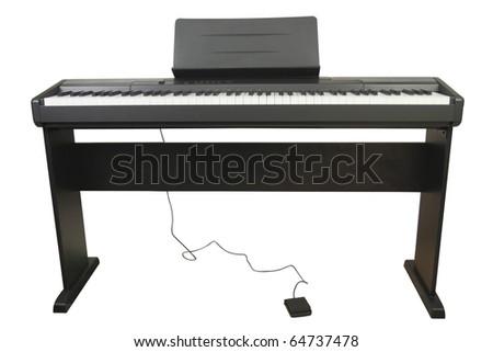 Electronic piano under the white background - stock photo