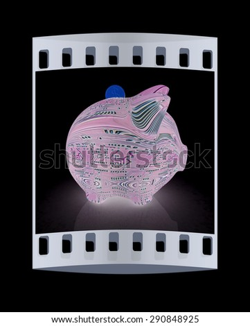 electronic piggy bank on black background. The film strip - stock photo