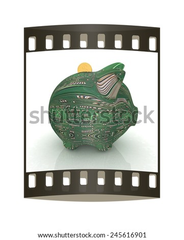 electronic piggy bank on white background. The film strip - stock photo