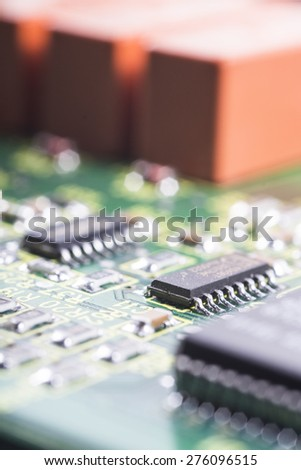 electronic printed circuit board - stock photo