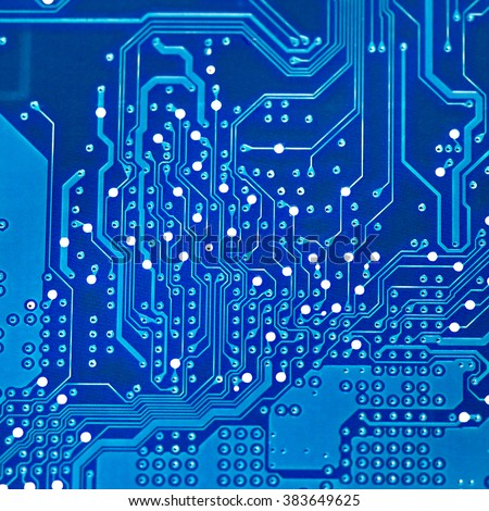 electronic printed circuit board a blue color.