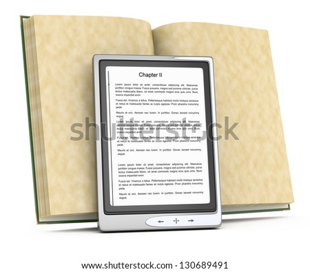 electronic reader and open book isolated on white. 3d rendered image