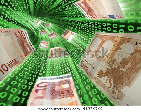 Electronic remittance through the Internet - stock photo