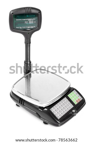 electronic scale isolated on a white background - stock photo