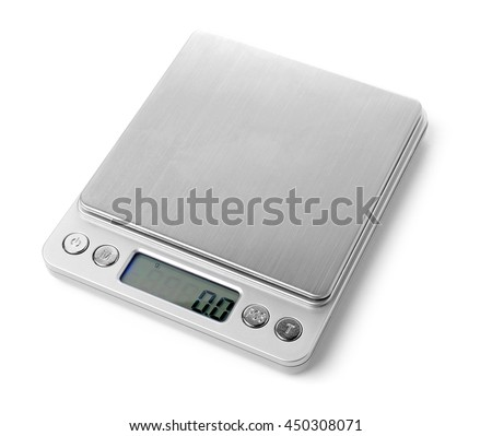 Electronic scales isolated on white background. - stock photo