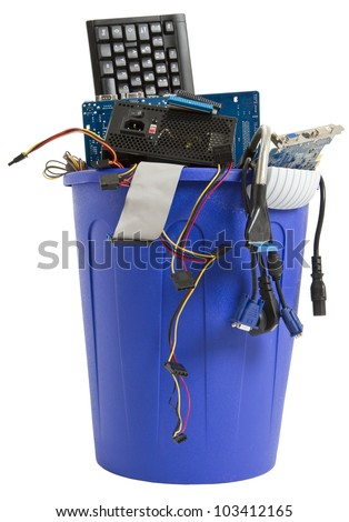 electronic scrap in trash can. keyboard, power supply, cables, logicboard - isolated on white background - stock photo