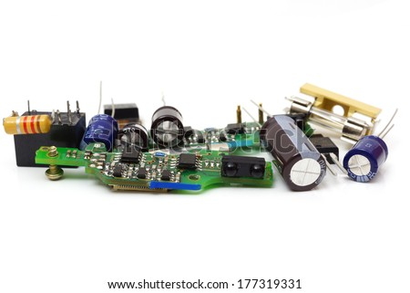 electronic spare components isolated on white background - stock photo